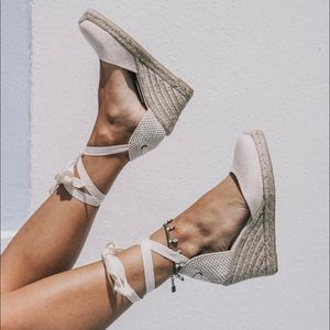 NWT Soludos Classic tall gray espadrille wedge 6